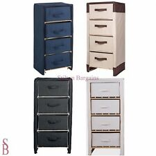 Polycotton and Wood 4 Drawer Storage Unit - BNIP