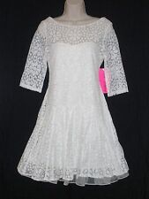 NWT MSRP $178 - BETSEY JOHNSON Women's Floral LACE Overlay Dress, White, Size 2