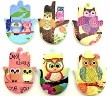 "3"" Hand Painted Owl Ceramic Hamsa Magnets Refrigerator"