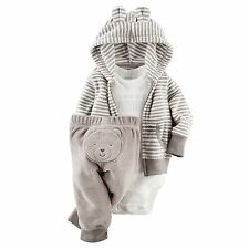Carters Newborn 3 6 9 12 Months Bear Terry Cardigan Pants Set Baby Boy Clothes