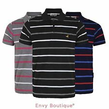 MENS COLLARED SUMMER SHORT SLEEVE TOP CONTRAST THIN STRIPE POLO T SHIRT S-XXL