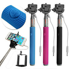 Extendable Selfie Stick Wired Phone Holder Remote Shutter Monopod