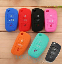 FIT FOR AUDI A2 A3 A4 A6 TT Q7 R8 SILICONE FLIP KEY REMOTE HOLDER CASE COVER FOB