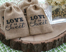10 x Love is Sweet burlap bags - wedding, favour, sweets, candy, gift, birthday