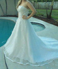 New Womens Size 16 COLORS DRESS Ivory Embellished Strapless A Line Wedding Gown