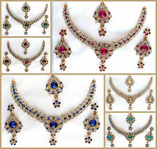Designer Bollywood Gold Necklace Earring Set Traditional Wedding Indian Jewelry
