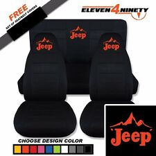 1987-1995 Jeep Wrangler YJ Black Seat Covers / Jeep Mountainscape Logo. 9 Colors