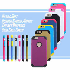 "For iPhone 6 4.7"" Hard&Soft Rubber Hybrid Armor Impact Defender Skin Case Cover"