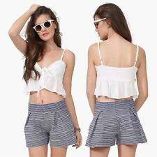 Vogue Womens Sheer Chiffon Crop Top Tie Front Ruffle Hem Vest Cropped Top White
