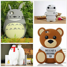 For iPhone Cute Cartoon Animal Bear Baymax 3D Soft Rubber Silicone Case Cover