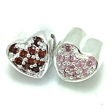 New Genuine Sterling Silver 925 Sweet Heart Pave CZ Stones Charm Bead