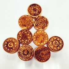 Engraved Bamboo Plug MANDALA DESIGNS [10mm-50mm] stretchers -PRICE PER ONE- Wood