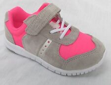 BNIB Clarks Girls Azon Jump Grey Suede and Pink First Trainers E/F/G/H
