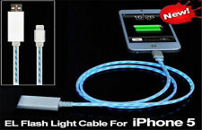 FLASHING LED LIGHT USB CHARGER SYNC CABLE PWR SAVER Pink/White/Black FOR iPHONE5
