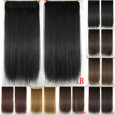 """24""""  Women Long Straight clip in hair extensions Black Brown Blonde 10 color Hot"""