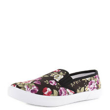 Womens Flat Slip On Floral Canvas Plimsoll Loafer Casual Shoes Trainers Uk Size