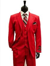Falcone Mens Red 3Pc Vest Designer Classic Dress 2 Button Trendy All Season Suit