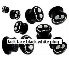 nightmare before Christmas jack skeleton black screw on earlet ear plug 2g 0g +