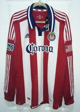 NEW Mens XL ADIDAS CD Chivas Authentic Away 2012 Red White L/S Soccer Jersey