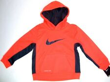 Nike Therma Fit Boys Pullover Hoodie Sweatshirt  NWT Size 4   Orange & Gray