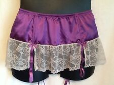 Garter Skirt Cacique Lane Bryant Sexy Satin Mesh Lace Purple Ivory New NWOT