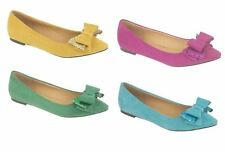 Womens Flat Pumps Suede Ballet Ballerina Pumps Shoes With Bow In Uk Shoes Size