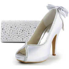 EP2048-IP Sparkling Bag&Satin Peep Toe Stiletto Heel Bow Wedding Party Platforms