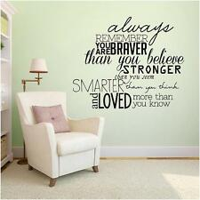 Always Remember You Are Braver - Inspirational Wall Decals Stickers Quotes