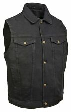 Mens Classic Snap Front Black Denim Vest with Shirt Collar & Gun Pockets