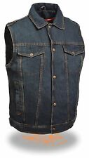 Men's BLUE Classic Snap Front Denim Vest with Shirt Collar & Gun Pockets