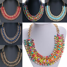 Crystal Chain Collar Choker Statement Bib Necklace Pendant Elegant Jewelry