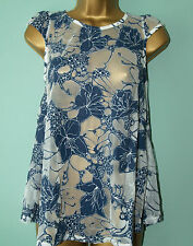 NEW Dorothy Perkins Ladies Floral White Blue Lace Summer Blouse Top Size 6 to 18