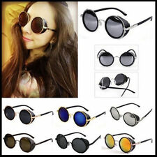 Unisex Round Glasses Cyber Goggles Steampunk Sunglasses 50s Retro Blinder FTSS