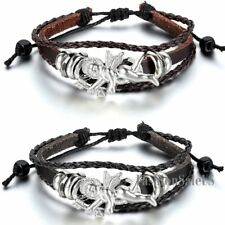 Unisex Tribal Angel Adjustable Handmade Leather Bracelet Charm Wristband Cuff