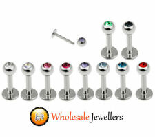1pc New 316L Steel Gem Screw Labret Monroe Tragus Lip Bar Stud Ear Ring Piercing