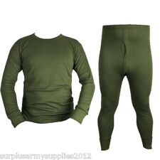 MILITARY GREEN THERMAL TOP BOTTOMS LONG JOHNS UNDERWEAR VEST BRITISH ARMY CADET
