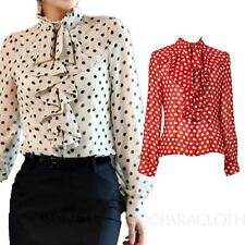 Vintage Shirt Polka Dot Rockabilly Ladies Long Sleeve Blouse Spotty Top Size