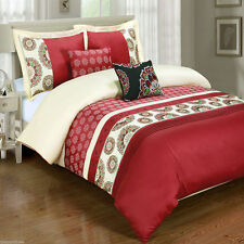 6pc Chelsea Duvet Cover Bedding Set with Decorative Pillows and White Comforter