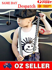 Kids Boys Girls Fashion Adjustable Elastic Suspenders Braces Grids 1-8 years old