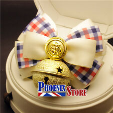 Red Blue Ribbon Check Pattern Bow Tie Collar & Gold Anchor Badge for Pet Dog Cat
