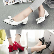 Womens Bowknot Pointed Toe Chunky Mid Heels Patent Leather Shoes Stylish Pumps