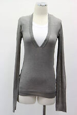 NWT $1405 Brunello Cucinelli Silver Grey Top Blouse Monili Beading Cotton Blend