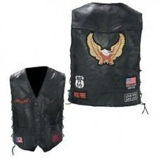 Diamond Plate Rock Design Buffalo Leather Bike Vest GFVBIKE