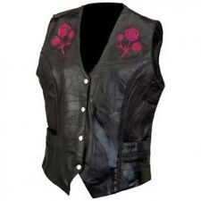 Diamond Plate Ladies Rock Design Genuine Buffalo Leather Vest W/Roses