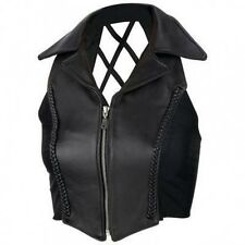Diamond Plate Ladies Solid Genuine Leather CROSS HATCH Vest GFVLCH