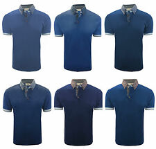 MENS PRINTED COLLAR JERSEY POLO SLIM FIT SHIRT DESIGNER T-SHIRT S-M-L-XL