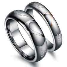 Fashion Couple Ring Tungsten steel Half Heart matching Couple rings Lover Gift