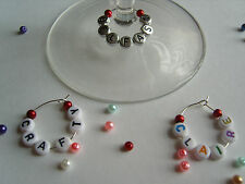 1 6 12 or 25 Personalised Wine Glass Charms with Pearls -  Hen Party Favours