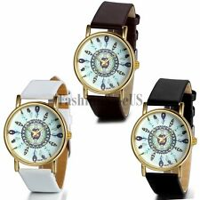 Women's Vintage Retro Feather Dial Quartz Analog Casual Wrist Watch Leather Band