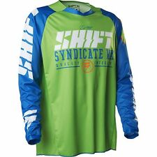 MENS GUYS SHIFT RACING MX ATV RIDING STRIKE BLUE GREEN JERSEY SHIRT OFFROAD